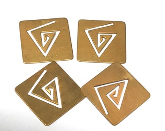 """Vintage Raw Brass Stamping Square NOS with Triangular Cut Out 13/16"""" diameter PKG4  MS130"""