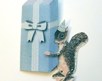 DIY Printable PDF Cute Squirrel Paper Puppet Card Set for Children, for Paper Play, Unique Fun, Blue, Brown, White, Gift