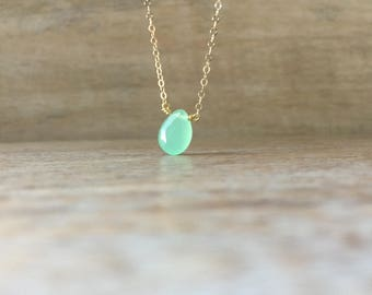 Aqua Chalcedony Necklace, 14K Gold Filled necklace, Sterling Silver Necklace, Seafoam Chalcedony, valentines day, Green Gemstone Necklace
