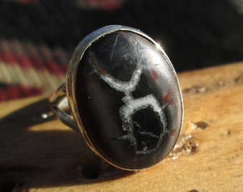 Septarian Fossil and Sterling Ring Size 6.5