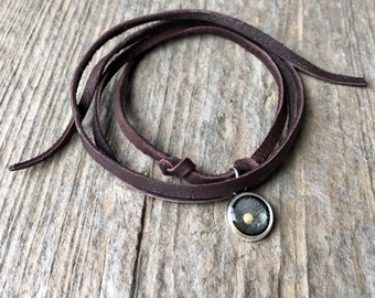 Silver Round Mustard Seed Faith Leather Wrap Bracelet