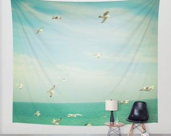 Ocean Tapestry. Large Size Wall Art Photo tapestry, ocean tapestry, beach house decor, seagulls tapestry, green mint tapestry