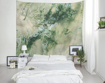Moss agate wall hanging, Wall tapestry, Green wall tapestry, Large wall art, Bedroom decor, Backdrop, Mineral photo, Moss agate art. MW112