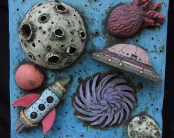 Ceramic Wall Hanging * Space Tile * Ceramic Rocket and Planets * Ceramic Outer Space Scene * Ceramic Tile * Pottery Space Ship * Quasar