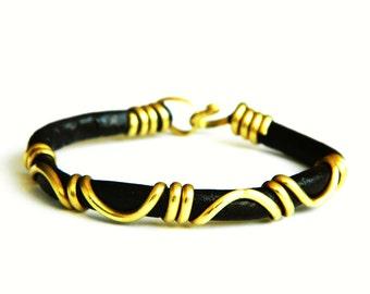 gold bracelet, leather bracelet, brass bracelet,