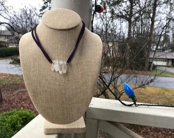 4 Quartz Necklace With Purple Suede