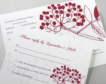 Fall Wedding Invitation with Red Berries