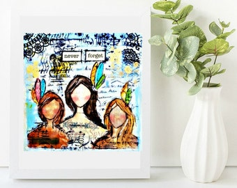 Anti-abuse mini mixed media canvas. Art with a message. Never Forget. First nations women. Missing women.