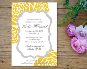 Yellow and Gray Grey Baby Shower Invitation - customized 5x7 printable - modern flower print yellow and gray baby shower invites