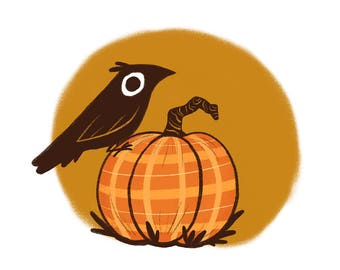 Crow and Pumpkin Art Print