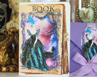 Marie Antoinette Halloween Maleficent Card with Purple Metallic Envelopes and Seals