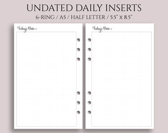 """Undated Daily Planner Inserts, DO1P w/Large Dot Grid Notes Section ~ Half Page / A5 / 5.5"""" x 8.5"""" for 6-Ring Filofax, Kikki K (A5-DV5-U)"""