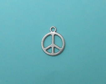 10 Peace Sign Charms silver tone (S024-cnt)