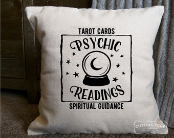 Psychic Readings Cotton Canvas Natural Pillow | Crystal Ball Pillow | Spiritual Guidance | Gift for Psychic | Psychic Medium | Tarot Cards