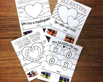 DIY Printable Valentines for Kids/ Color in Valentines/ Crayon Valentine's Day Card/ Instant Download/ Valentine Coloring Pages/ Colouring