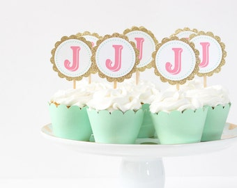 Gold Glitter Letter Cupcake Toppers Mint Pink Coral Party Supplies Monogram Cupcake Toppers Girls Birthday Party Initial Cake Topper