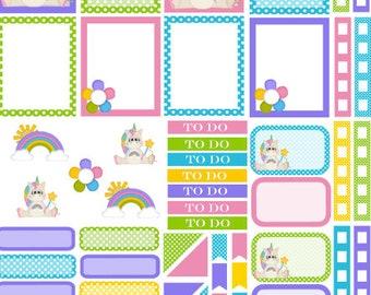 Unicorn planner sticker set