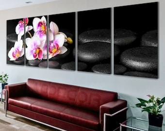 Orchids Panoramic Orchids Home Decor Orchids Print Black Rocks Wall Art Black And White Art Orchids Art Print Orchids Canvas