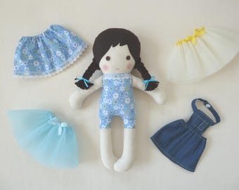 """Brunette Pigtail Floral Print Fabric Stuffed Doll Changeable Tutus, Skirt, and Jeans Apron 14.5"""" (37cm) Tall"""