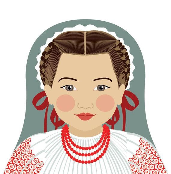 Croatian Doll Art Print with traditional folk dress, matryoshka