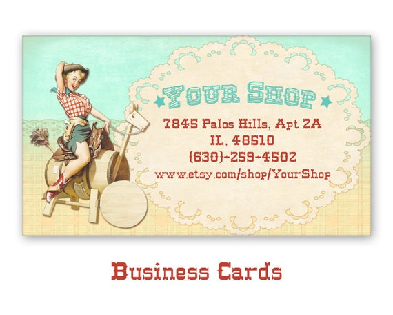 Business cards with western pinup cowgirl personalized colourmoves
