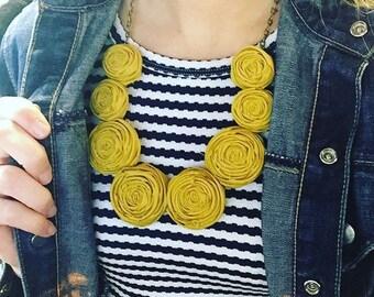 Mustard Rolled Fabric Rosie Posie Necklace