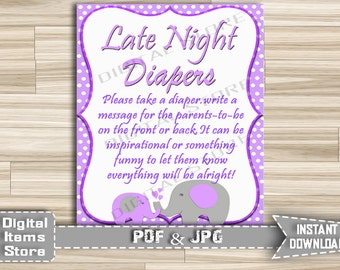 Purple Elephant Baby Shower Diaper Thoughts Game - Late Night Diapers Elephant Purple - Words for Wee Hours - Instant Download - pe1
