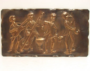 Copper Music Wall Hanging Plaque, Vintage Beatles Era, Musical Rock Jazz Band Hand Hammered Copper Art, Italy Italian Signed
