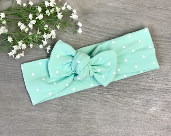 Mint Dot Headband / Baby Headband / Toddler Headband / Baby Shower / Baby Bow / Newborn Gift /Baby Gift