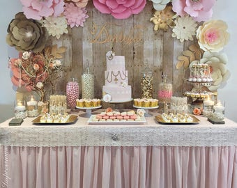 17 pcs - PAPER FLOWER BACKDROP  - All flowers in image - dessert table flowers - home decor - baby room decoration - Kardashian baby shower