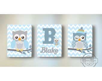 Owl Canvas Art Set- Baby Blue and Gray Baby Nursery Decor ,Owl Canvas Set, Personalized Initial Nursery Wall Art