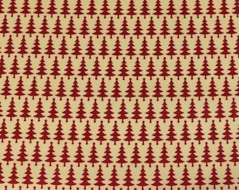 Laminated cotton fabric joyful Christmas Fir red on cream (17.50 EUR / meter)