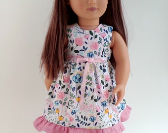 """Pink Floral Dolls Dress to Fit 18"""" Doll"""