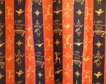 Set of 2 Vintage Long Curtains, Cotton Fabric, Tribal Pattern, each: 180 x 149 cm / 70.8 x 58.6 inch Orange Black Striped Curtains #2-11