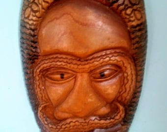 Fine Wooden Hand-carved Vintage Jamaican Mask-Free Priority US shipping