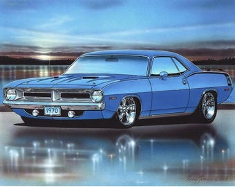 1970 Plymouth Cuda 340 Muscle Car Art Print w/ Color Options
