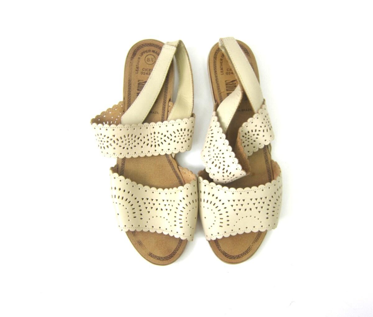 51b41df97ec27 Off White Leather Sandals Open Toe Huaraches Womens Beach ...