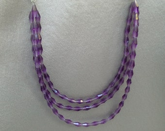 Crystal Necklace of Purple Quartz Crystal Semiprecious (Semi Precious) Stones