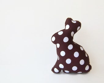 Stuffed Chocolate Easter Bunny Plush Bunny Toy Brown Polka Dot