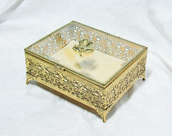 Vintage Rectangular Footed Gold Ormolu Jewelry Casket