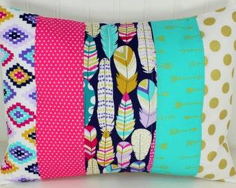 Pillow Cover, Nursery Decor, Home Decor, Baby Girl, Decorative Pillows, 12 x 16, Magenta, Pink, Teal, Feather, Gold, Tribal, Aztec, Boho