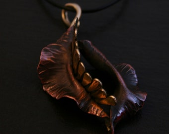 """Feminist Fighting Flower Pendant: Copper and Bronze on 18"""" cord-DONATE 20% to Planned Parenthood"""