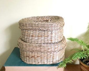 Vintage Woven Basket Set, Oval Shape, Lidded Baskets, Set of 2