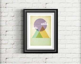 Geometric Minimal Scandinavian Style Giclee Art Print Gift Poster, Mountain Art Print, Mid Century Modern