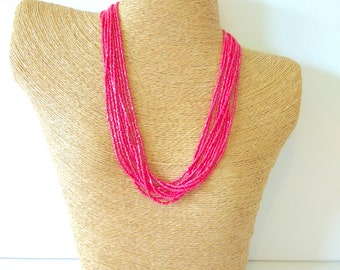 Coral necklace bridesmaid necklace seed bead necklace multi strand necklace beaded necklace,bridesmaid gifts wedding jewelry boho necklace