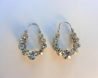 Vintage Rhinestone Earrings, Clear Rhinestone Hoop Tear Drop, Bridal Jewelry