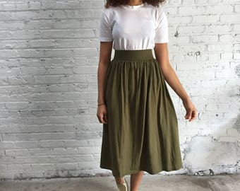 RESERVED  80s khaki skirt / 1980s olive green midi skirt / army green neutral minimalist style
