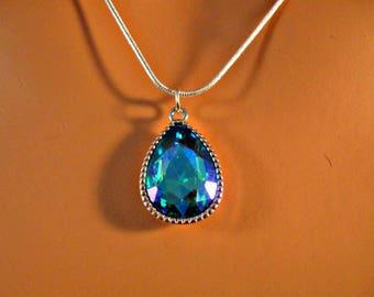 Crystal Necklace,Silver Crystal necklace,silver necklace,vitrail necklace,crystal,crystal pendant,blue green necklace,blue necklace,pendant