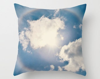 Sun, Halo, Sky, Clouds, Rainbow,  Nature,  Home Decor, Decorative, Throw Pillow, Pillow, Photography by RDelean