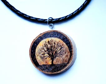 Moon, birch pendant, leather necklace